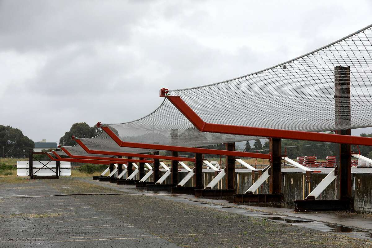 A press conference was held by the Golden Gate Bridge Highway and Transportation District introducing a suicide deterrent system net at Richmond Yard in Richmond, Calif., on Thursday, May 16, 2019. The net will be placed 20 feet below the sidewalk, extending 20 feet out from the Golden Gate Bridge. It will prevent anyone from easily jumping into the water below.