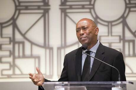 Mayor Sylvester Turner at a press conference at City Hall on May 3, 2019.