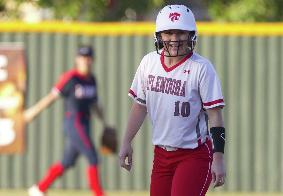 Kaicey Hagler #10 of Splendora is seen after hitting a double in the second inning of a Region III-4A high school softball bi-district playoff game, Friday, April 26, 2019, in Splendora. Photo: Jason Fochtman, Houston Chronicle / Staff Photographer / © 2019 Houston Chronicle