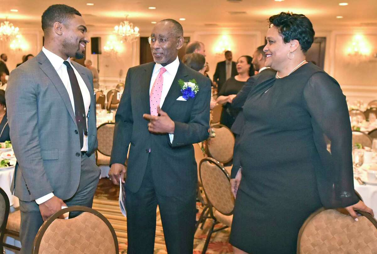 New Haven, Connecticut - Thursday, May 16, 2019: Don Griffith of Yale New Haven Health, left, 2019 NAACP Honoree James