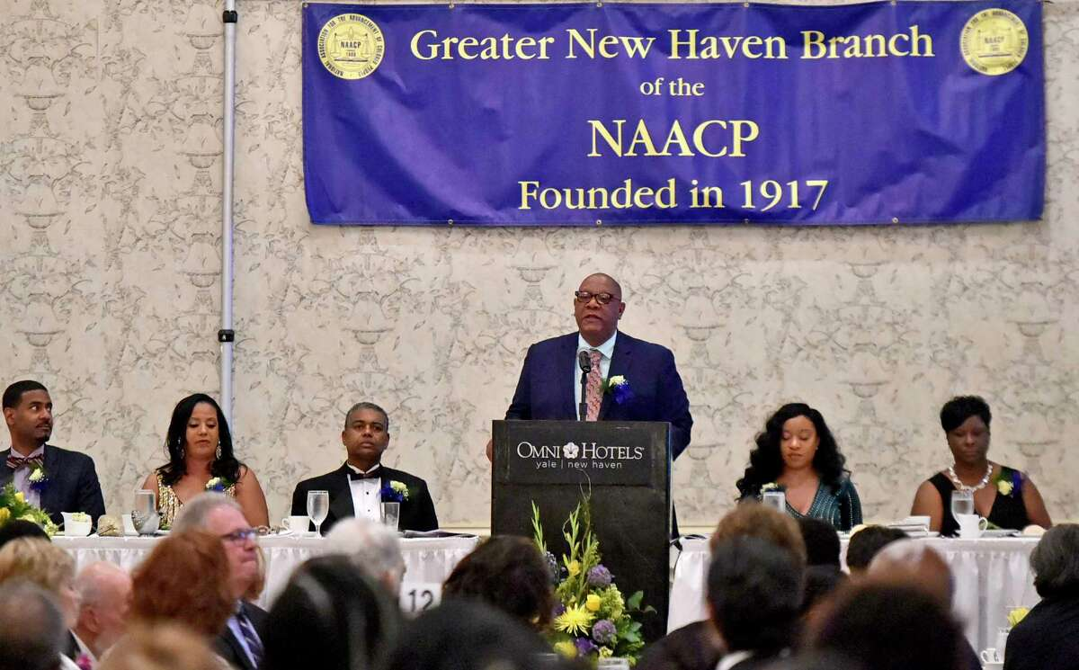 New Haven, Connecticut - Thursday, May 16, 2019: Scot X. Esdaile, President of the Connecticut State Conference of the NACP and member of the NAACP National Board of Directors addresses the 102nd annual Greater New Haven Branch of the NAACP Freedom Fund Dinner Thursday evening at the Omni at Yale hotel