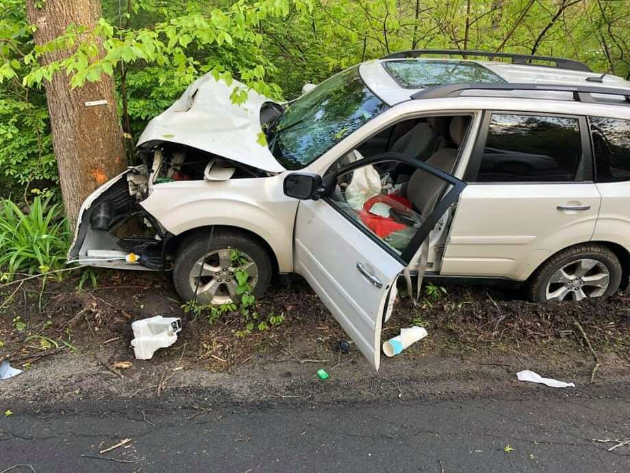 The driver of a one-vehicle crash in Easton, Conn., on May 16, 2019, was not seriously injured. Photo: Contributed Photo / Easton Volunteer Fire Department