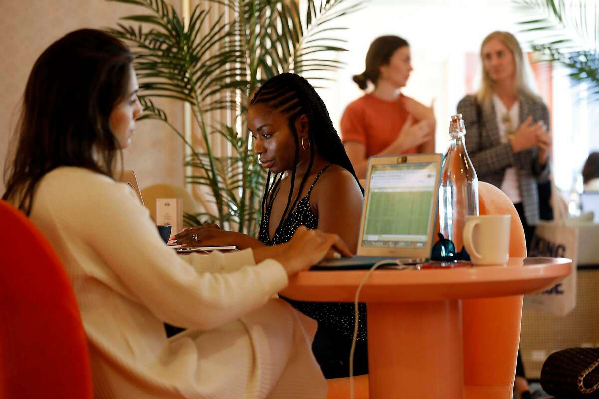Ramina Lilia (left) and Jess Hooper work at the newly opened Wing in West Hollywood, a co-working space that caters to women.