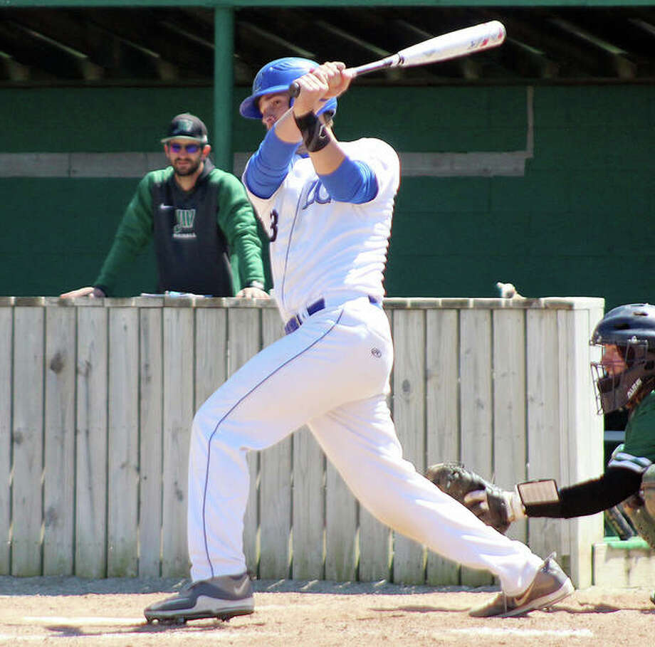 LCCC's Nick Wilke went 4-for-5 in Thursday's 10-3 victory over Vincennes University in the first round of the NJCAA Region 24 Division II Baseball Tournament at the Corn Crib stadium in Normal. Photo: Pete Hayes | The Telegraph