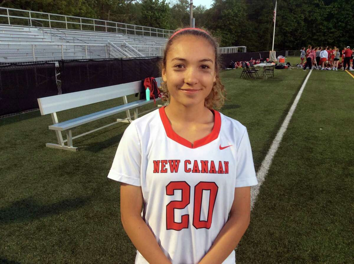 Quincy Connell of New Canaan was one of the Rams' standout midfielders during the team's 10-5 win vs. Greenwich in the FCIAC Girls Lacrosse Tournament quarterfinals on Thursday, May, 16, 2019, in New Canaan.