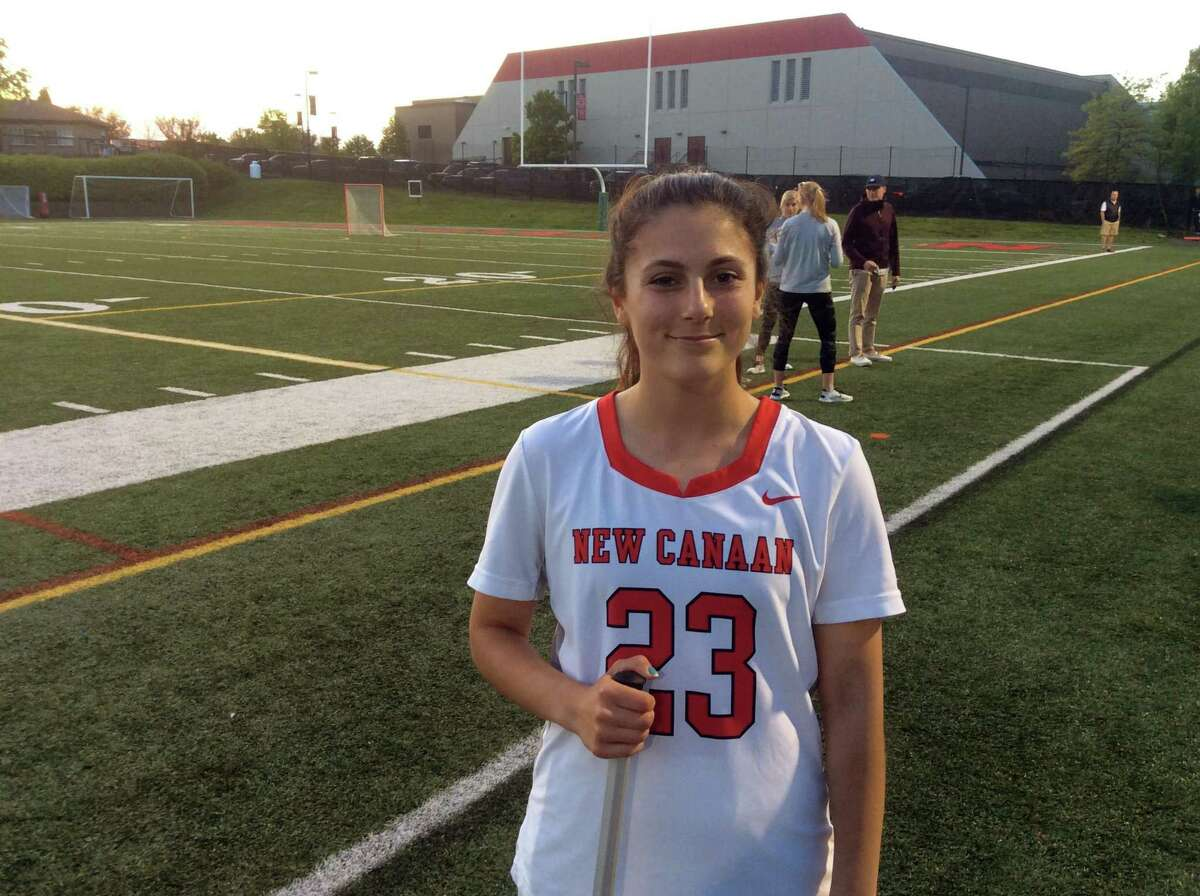 Natalie Lopez of New Canaan helped lead the Rams' solid defensive effort in its 10-5 win vs. Greenwich in the FCIAC Girls Lacrosse Tournament quarterfinals on Thursday, May, 16, 2019, in New Canaan.