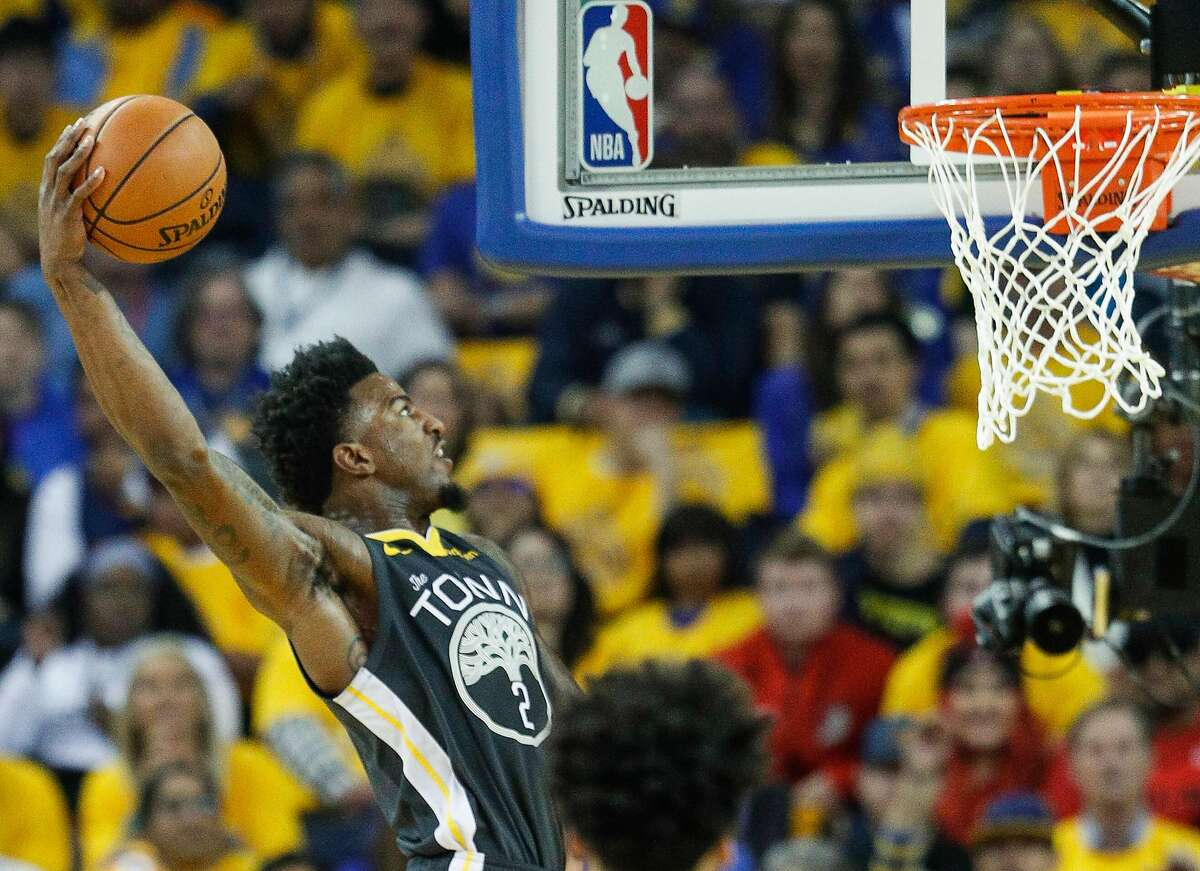 Jordan Bell dunks for the Warriors during the 2019 playoffs. Bell hopes good times are here again.