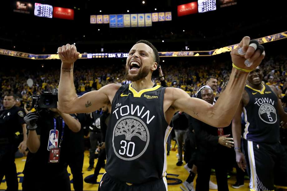 OAKLAND, CALIFORNIA - MAY 16: Stephen Curry #30 of the Golden State Warriors celebrates after defeating the Portland Trail Blazers 114-111 in game two of the NBA Western Conference Finals at ORACLE Arena on May 16, 2019 in Oakland, California. Photo: Ezra Shaw, Getty Images