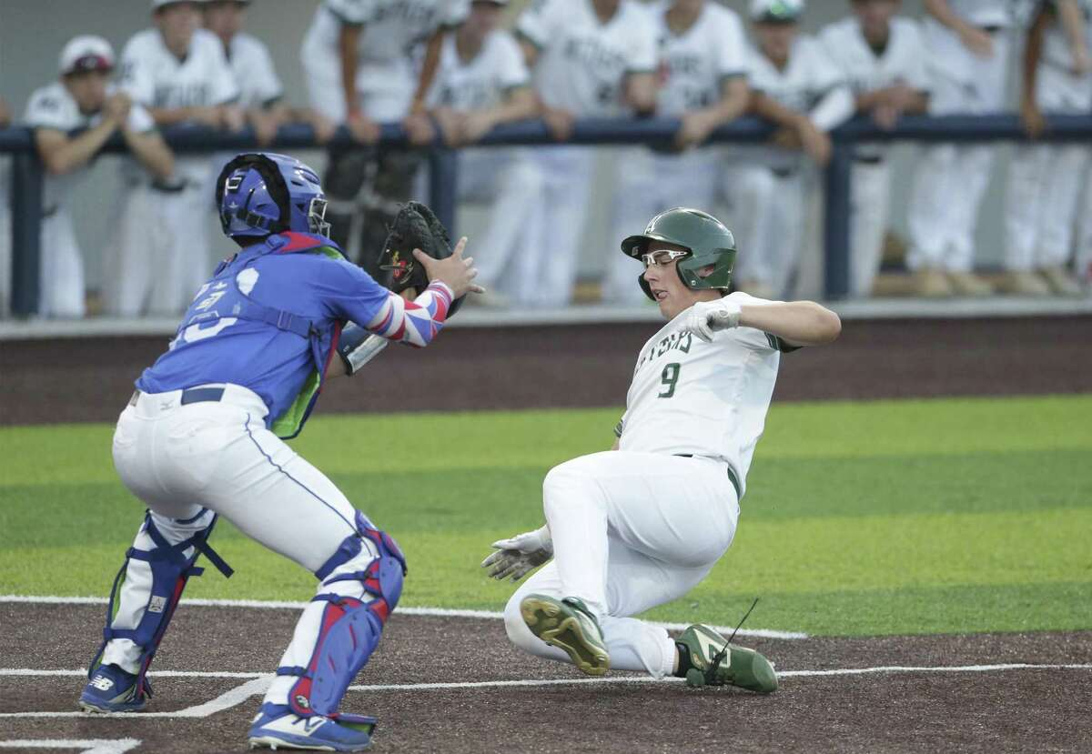 In what turned out to be Reagan's best scoring opportunity of the night, Hogan Heller is thrown out at home in the second inning.