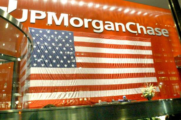 A sign inside the JP Morgan building on Park Avenue in New York.