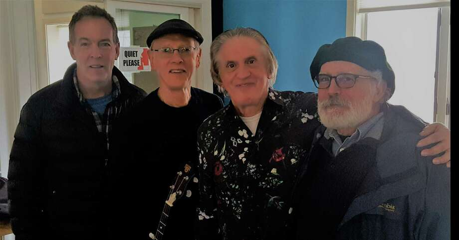 "NEW GROUP: Connecticut bluegrass legend Phil Rosenthal and guests Chris Wuerth, Peter Menta and Bobo Lavorgna played together for the first time recently, live on Phil's ""Monthly Scene"" on ICRV radio. The impromptu session of bluegrass and blues was so much fun they began a band, Frog Hollow, and their first gig will be Friday, May 24, at Best Video on Whitney Avenue in Hamden, at 7:30 PM. Door tickets are $10. Photo: Chris Wuerth / Contributed Photo"