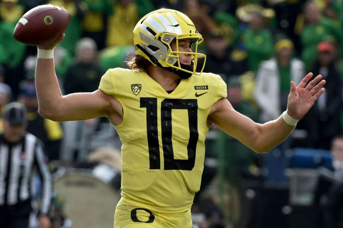QB: Justin Herbert, Oregon It's no shock to see Herbert on top here - the senior is widely projected to be one of the top quarterbacks in this year's NFL Draft. He's also been a critical part of Oregon's slow resurgence over the past two seasons. When he plays well, the Ducks tend to win.
