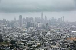 A storm hangs over the city on Wednesday, May 15, 2019 in San Francisco, Calif.