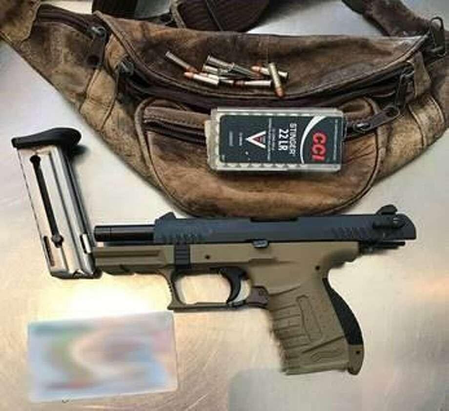 Transportation Security Administration officers caught a passenger with a loaded handgun at the Bradley International Airport checkpoint on Thursday, May, 16, 2019. The Florida man, who was arrested, was carrying a .22 caliber handgun in a fanny pack loaded with 10 bullets alongside a box with 50 additional rounds of ammunition. Photo: TSA Photo