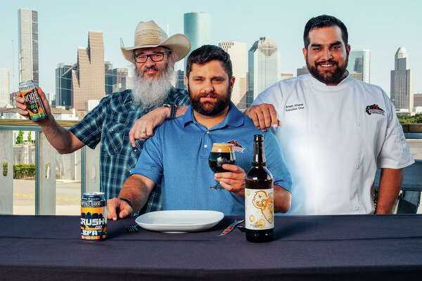 Buffalo Bayou Brewing Company's sales manager Troy Witherspoon and co-founder Rassul Zarinfar are welcoming chef Arash Kharat to the company. Kharat, formerly of Beaver's, is the brewery's new culinary director.