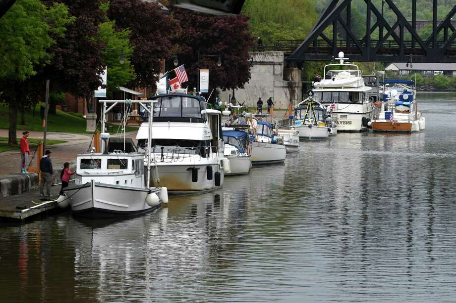 Boaters wait at Waterford Harbor as about half of the New York Sate Canal System is closed due to high water levels on Friday morning, May 17, 2019, in Waterford, N.Y. The canal is open locally from locks E-2 to E-8 in Scotia. Opening of the Champlain canal is also delayed. (Will Waldron/Times Union) Photo: Will Waldron, Albany Times Union / 40046956A