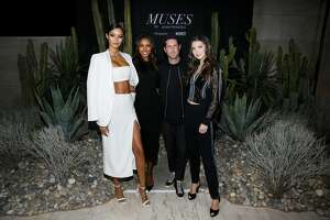 Models Lais Ribiero, Jasmine Tookes, photographer Adam Franzino and model Maya Henry arrive at the launch of fashion and celebrity photographer Adam Franzino's MUSES, a fine art photography exhibition, presented by Vernissage Art Advisory and Amethyst Beverage at Milk Studios on January 25, 2019 in Los Angeles, California. (Photo by Ryan Miller/WireImage)