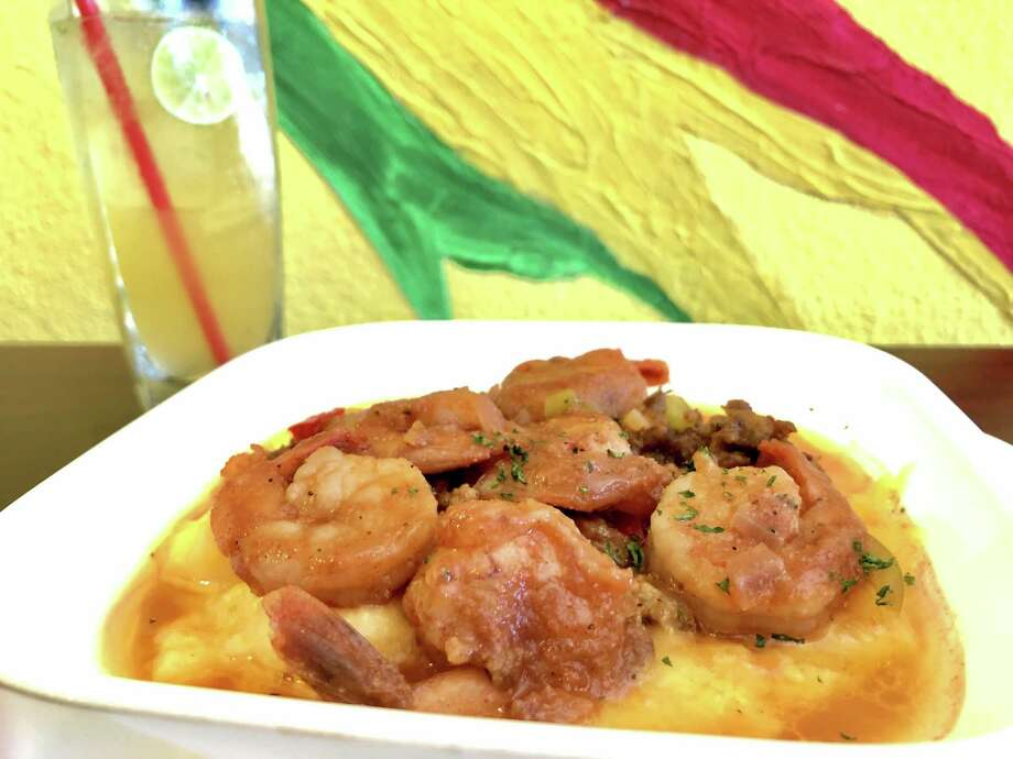 Jerk shrimp and grits ($14.99) are on the new Jamaica Jamaica Cuisine brunch menu. Photo: Jamaica Jamaica Cuisine