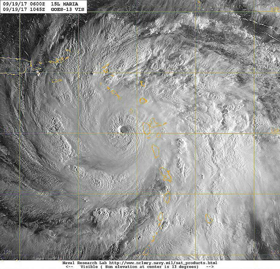 A GOES satellite image of Hurricane Maria in the Caribbean Sea, Sept. 19, 2017. The storm was a Category 5 on the Saffir-Simpson hurricane wind scale. Photo: Navy Photo, U.S. Navy