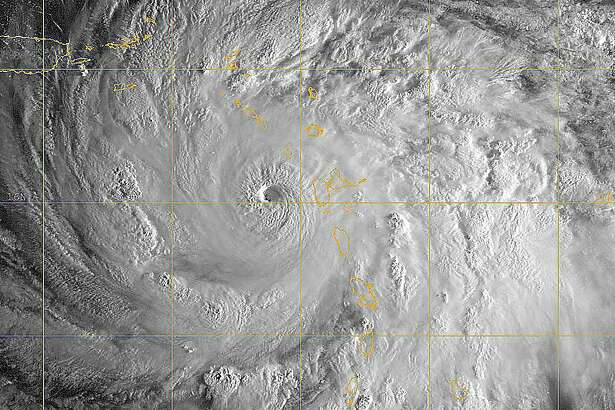 A GOES satellite image of Hurricane Maria in the Caribbean Sea, Sept. 19, 2017. The storm was a Category 5 on the Saffir-Simpson hurricane wind scale. The eye of Maria moved over the northeastern Caribbean Sea, the Virgin Islands and Puerto Rico. Maximum sustained winds were near 155 mph (250 km/h) with higher gusts.