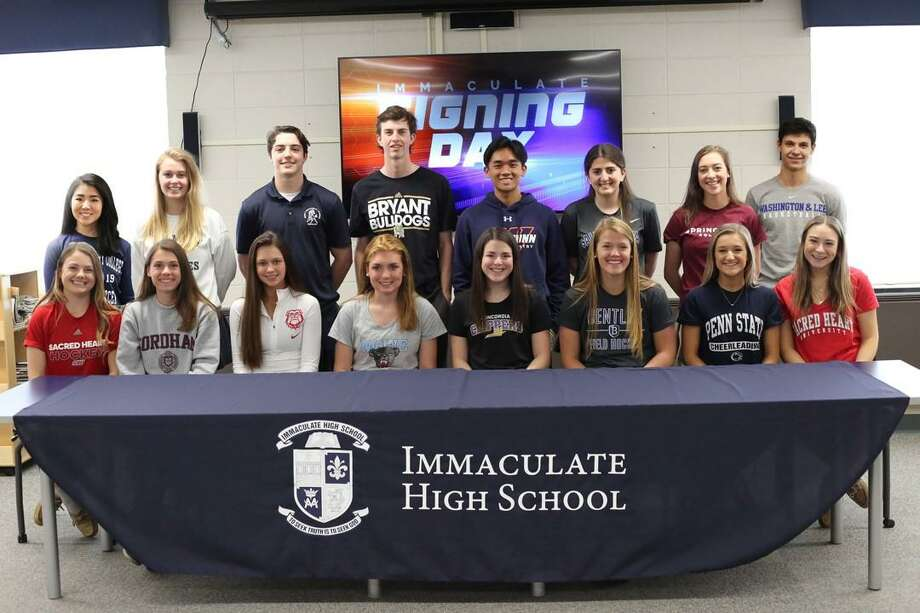 Immaculate athletes who are heading to play sports in college were honored this week. Photo: Contributed Photo