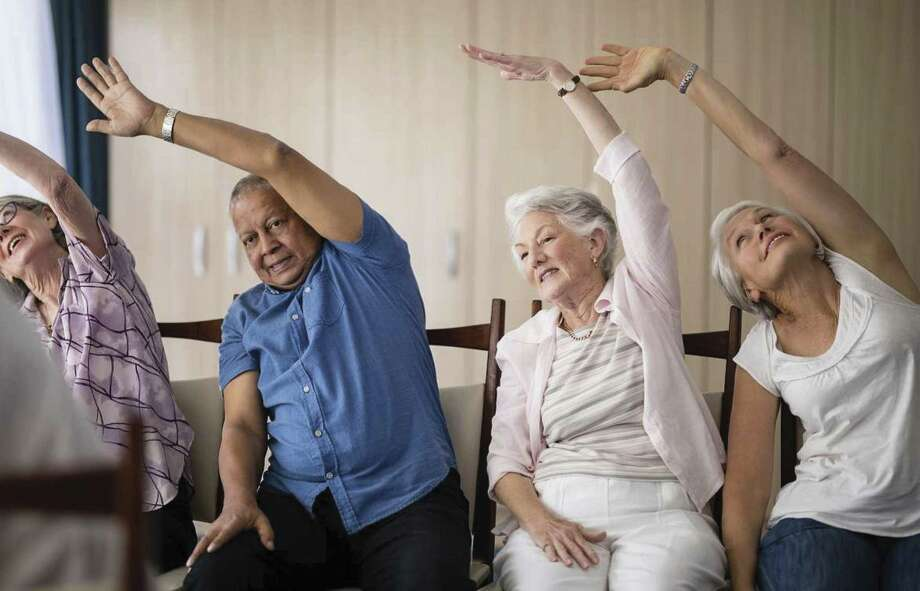 Chair exercises at Parkway Place, and many other senior living communities, include strength and stretching, which helps keep the body limber and flexible.
