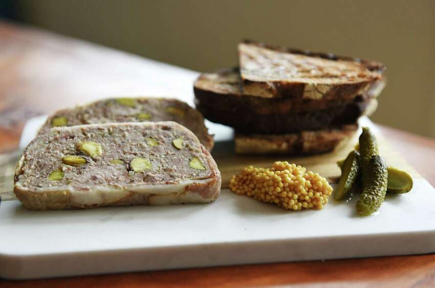 The country pate, house pickle, grain mustard and buckwheat walnut toast on Thursday, May 9, 2019 at the Stewart House in Athens, NY. (Phoebe Sheehan/Times Union)