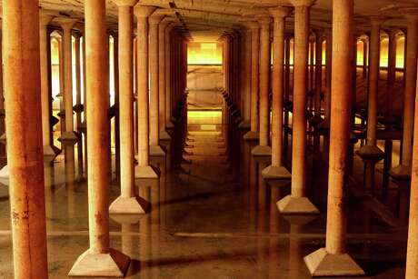 """Buffalo Bayou Park Cistern, built in1927, it was the City of Houston's first underground drinking-water reservoir- a concrete holding tank roughly the size of one and half football fields on Sabine Street, near Buffalo Bayou, Tuesday, May 10, 2016, in Houston, Texas. New York artist Donald Lipski creator of """"Down Periscope,"""" his new high-tech piece that allows visitors to peer into the Cistern at Buffalo Bayou Park, both in person and virtually. ( Gary Coronado / Houston Chronicle )"""