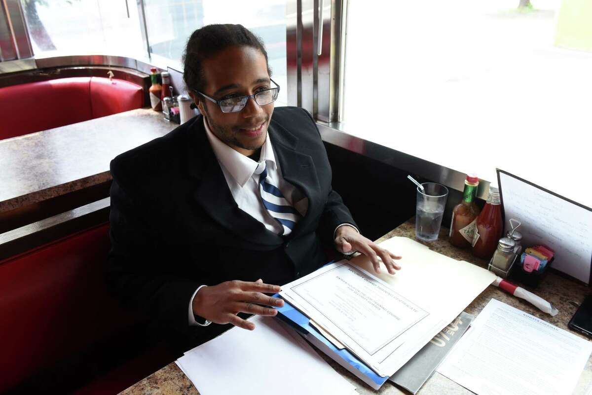 Rahleek Coleman is interviewed on Friday, May 17, 2019, at Jack's Diner in Albany, N.Y. (Will Waldron/Times Union)