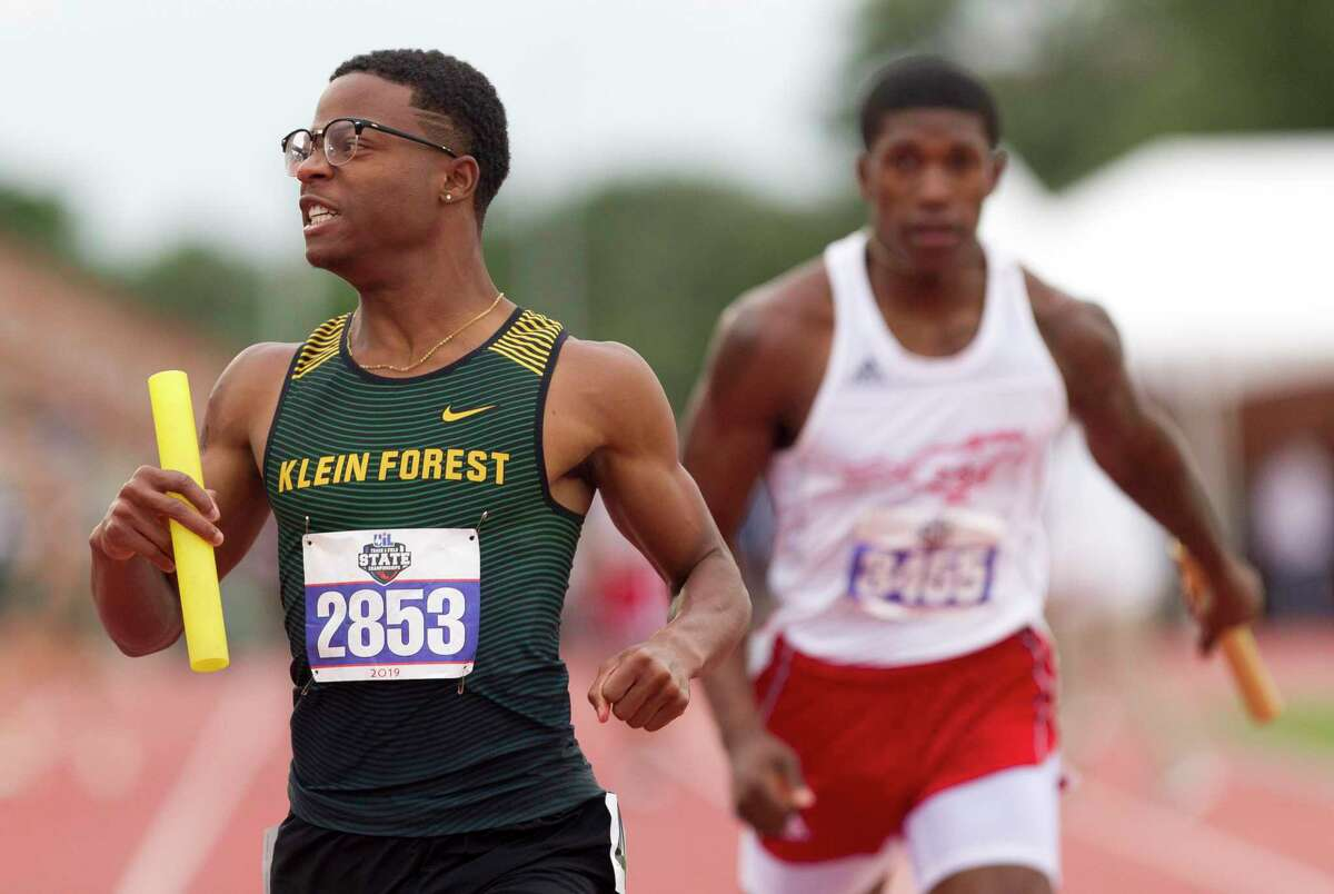 Klein Forest reacts after competing in the 6A boys 400-meter relay during the UIL State Track & Field Championships at Mike A. Myers Stadium on May, 11, 2019 in Austin.