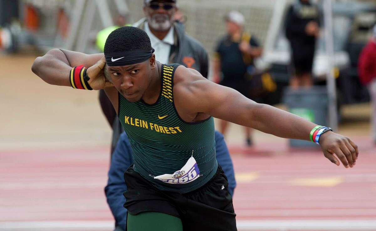 Maurice Westmorland of Klein Forest competes in the 6A boys shot put competes in the 6A boys shot put during the UIL State Track & Field Championships at Mike A. Myers Stadium, Saturday, May, 11, 2019, in Austin.