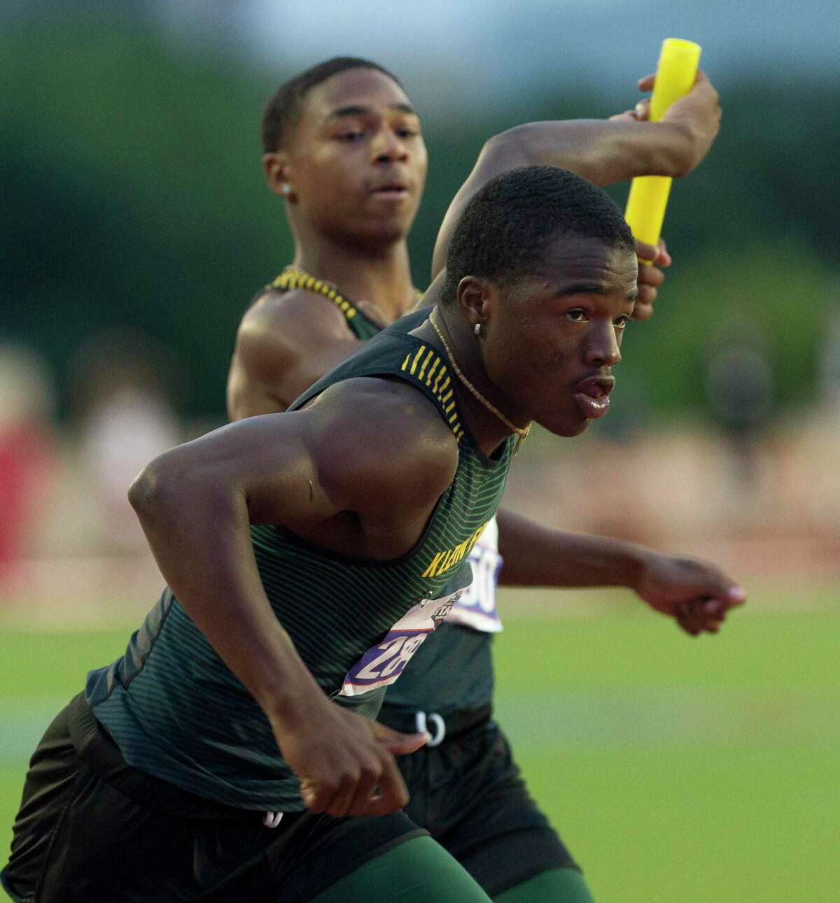 Klein Forest competes in the 6A boys 800-meter relay during the UIL State Track & Field Championships at Mike A. Myers Stadium, Saturday, May, 11, 2019, in Austin.