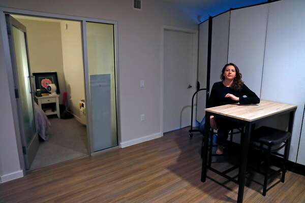 HomeShare customer Allyson Lambert in her apartment at 150 Van Ness in San Francisco, Calif., on Monday, May 6, 2019.
