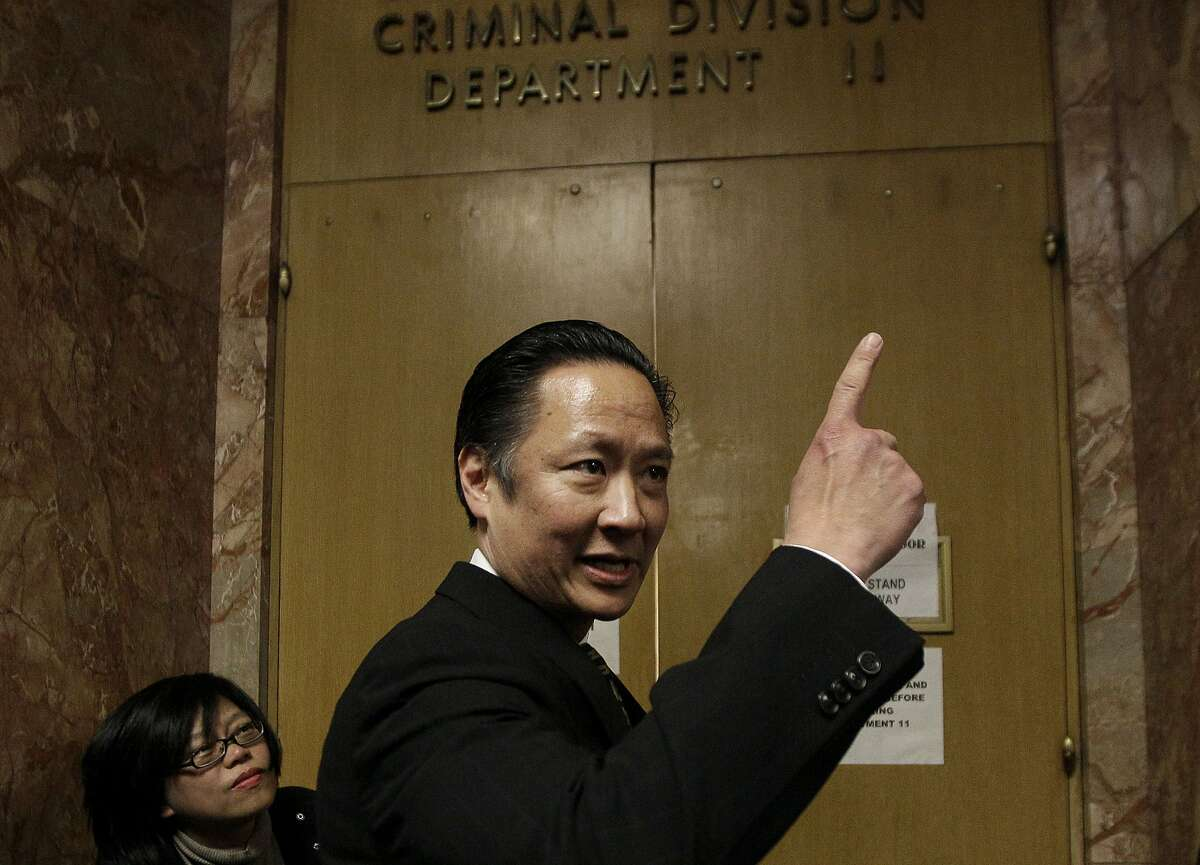 FILE - In this March 28, 2012 file photo, San Francisco Public Defender Jeff Adachi enters a courtroom at the Hall of Justice in San Francisco. A freelance journalist is vowing to protect his source after San Francisco police raided his home and office as part of a criminal investigation. Bryan Carmody tells the Los Angeles Times that officers handcuffed him Friday, May 10, 2019, as they confiscated items including his cell phone, computer and cameras. Authorities say the raid came during an ongoing probe into who leaked a confidential police report about the Feb. 22 death of Adachi. (AP Photo/Jeff Chiu, File)