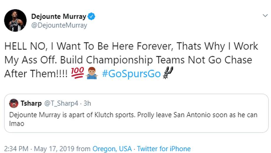 @DejounteMurray: HELL NO, I Want To Be Here Forever, Thats Why I Work My Ass Off. Build Championship Teams Not Go Chase After Them!!!! Photo: Twitter Screengrab