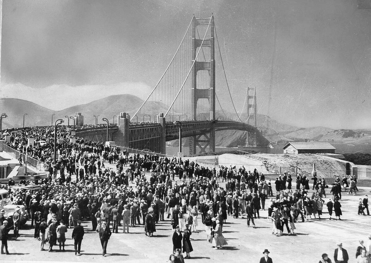Walkers take advantage of Pedestrians Day, the first of two opening days for the Golden Gate Bridge, May 27, 1937