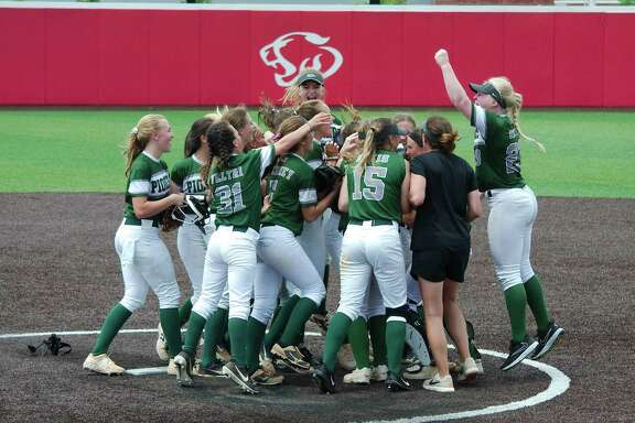 Lutheran South Academy players celebrate after defeating Fort Bend Christian Academy, 3-2, Friday at Crosby High School.