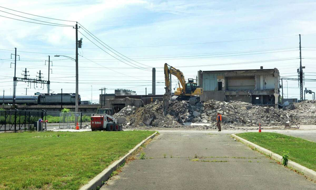 The Hubbell building on State Street in Bridgeport, Conn. as it was being demolished on Wednesday, June 5, 2013.