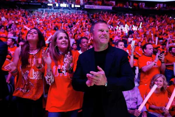 Houston Rockets owner Tilman Fertitta watches the pregame introductions with his family before Game 7 of the NBA Western Conference Finals at Toyota Center on Monday, May 28, 2018, in Houston.