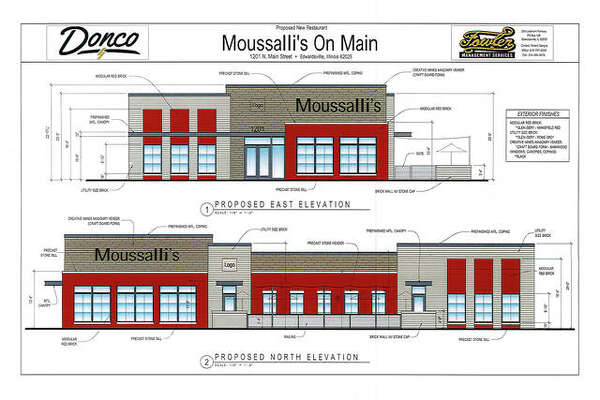 The site elevation rendering for Mousalli's on Main.