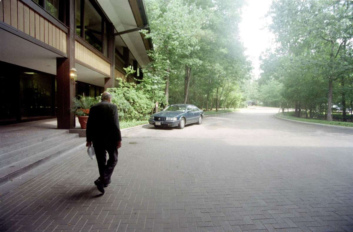 06/13/1997 - oilman George Mitchell departs the hotel at the Woodlands Conference Center after announcing the sale of The Woodlands at a news conference.