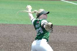 Lutheran South's Shelby Smith (23) pitches against Fort Bend Christian Friday, May 17 at Crosby High School.