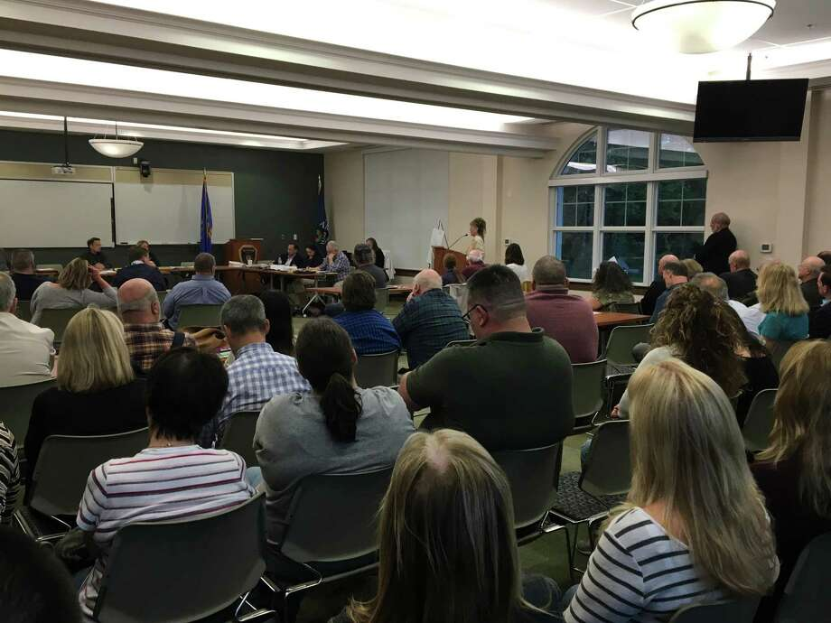 The Planning & Zoning Commission closed the public hearing May 16, 2019, on Beacon Communities Development's application to modify access in its controversial plan to rebuild and expand the Branford Housing Authority's Parkside Village One complex. No decision was made. About 70 people attended. Photo: Mark Zaretsky / Hearst Connecticut Media