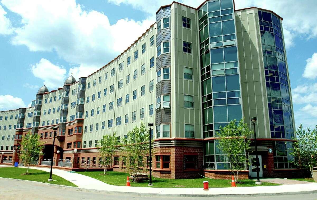 Crescent Residence Hall on the York Hill Campus of Quinnipiac University in Hamden.
