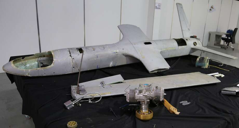 A Houthi rebel drone is stored in Hodeida, Yemen. An insurgent drone targeted the Saudi city of Najran. Photo: Associated Press