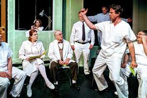 "McMurphy tries to liven up group therapy in ""One Flew Over the Cuckoo's Nest,"" onstage at The Ridgefield Theater Barn, May 31 through June 22. From left are Roger Dykeman, Alicia Dempster, Nicole Neurohr, Robert Molloy, Mark Hankla, Fred Rueck and Stephen Zerilli."
