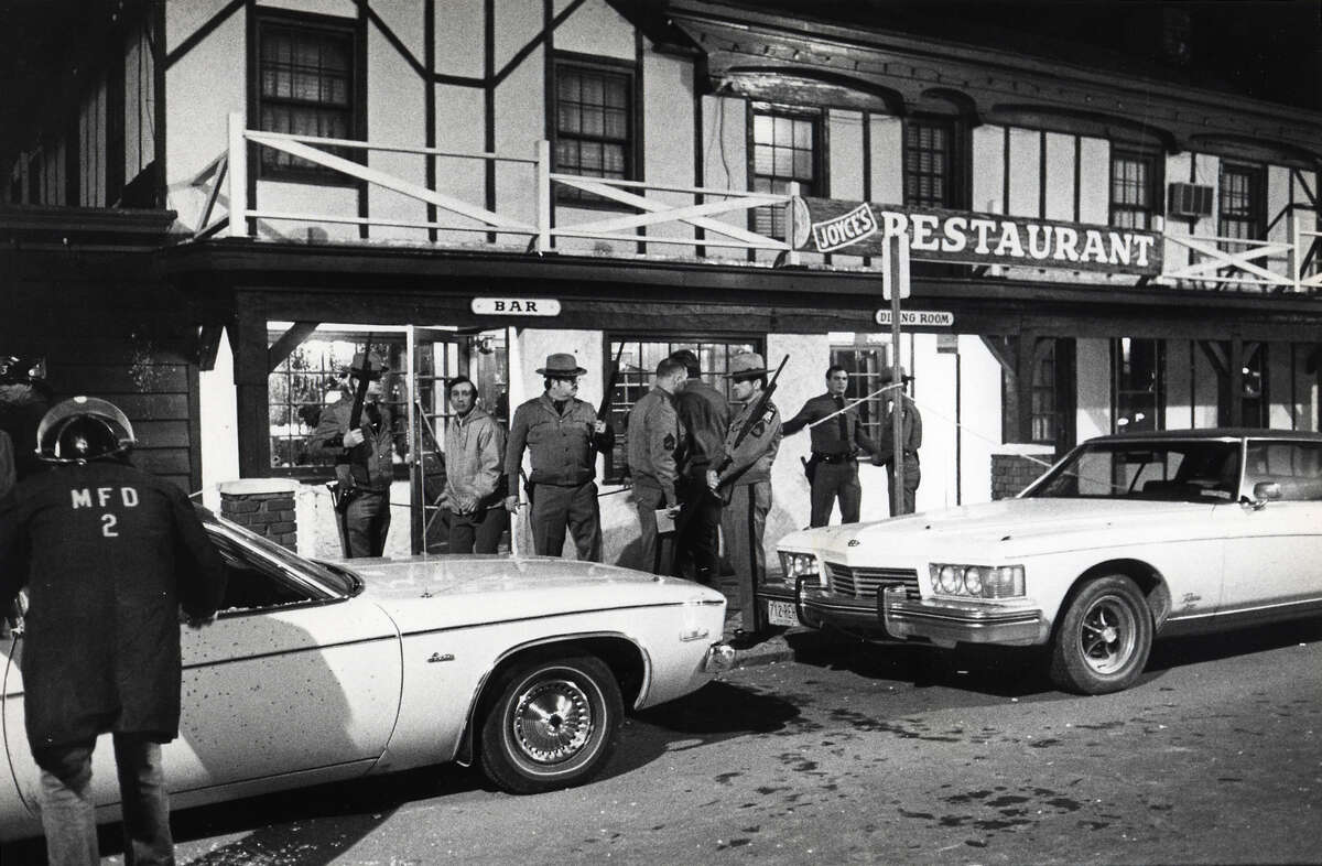 The body of Mechanicville parttime patrolman Paul Luther, 21, was found in the doorway of a tavern October 31, 1976. Luther was slain in a gun battle between police and a sniper which killed two and injured nine. Kenyon W. Pruyn was arrested and charged with two counts of second-degree murder.