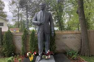 Feray Gokcek has created a shrine to Mustafa Kemal Ataturk, the founder of modern Turkey, in his back yard on Middletown Avenue in New Haven. A statue of Ataturk was erected in 2016. Turkish Americans will celebrate the 100th anniversary of Ataturk's launching of the Turkish War of Independence on Sunday, May 19, 2019.