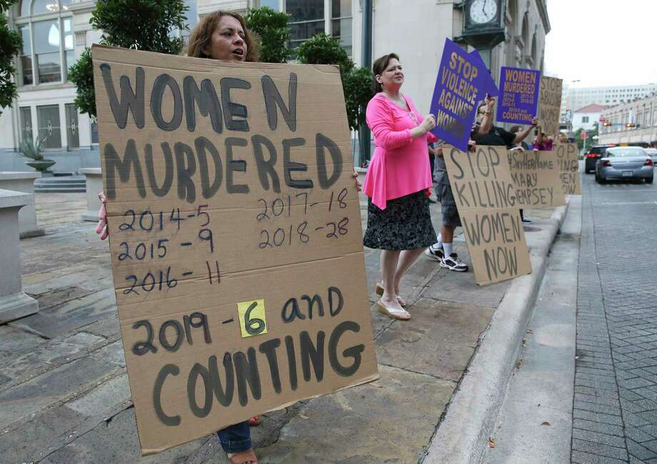 Ellie De La Cruz, left, e joins a rally near City Hall on May 1 to call attention to domestic violence accusations against mayoral hopeful Greg Brockhouse. A cynic would say Brockhouse and San Antonio are a perfect match. Photo: Kin Man Hui /Staff Photographer / ©2019 San Antonio Express-News