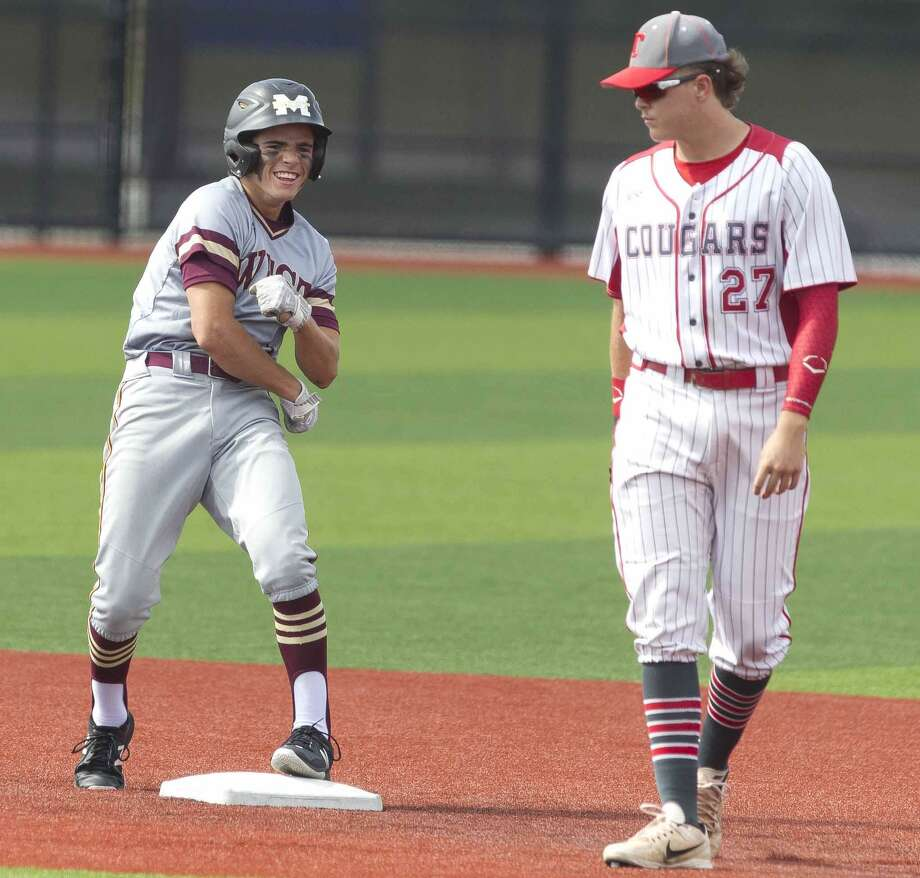 Mason Swidersky #1 of Magnolia West reacts after hitting a two-run double in the first inning during Game 2 of a Region III-5A quarterfinal high school baseball series at Grand Oaks High School, Friday, May 17, 2019, in Spring. Photo: Jason Fochtman, Houston Chronicle / Staff Photographer / © 2019 Houston Chronicle